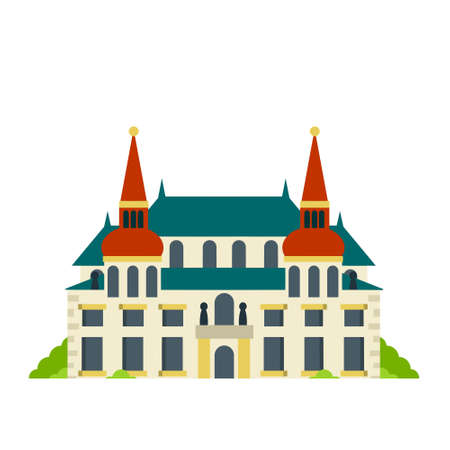 Palace and residence. European architecture. Old town. Beautiful house and building. The Baroque style. Towers and walls. Tourist attraction. Flat cartoon Vektoros illusztráció