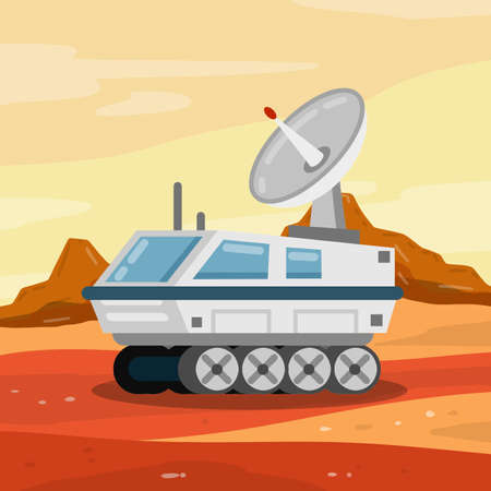 Rover. Space vehicle. Colonization of Mars and scientific research. White Spaceship on wheels. Martian landscape. Fantastic machine for exploring red planet and space. Vetores