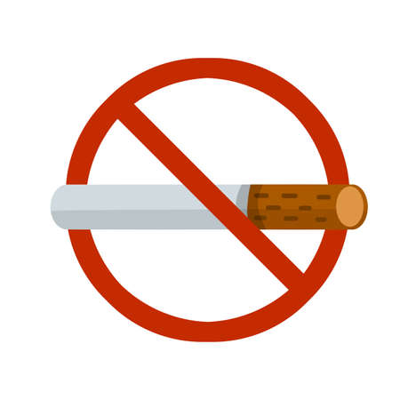 No Smoking sign. Crossed out cigarette in red circle. Rule and warning. Bad habit, and tobacco. Flat cartoon illustration