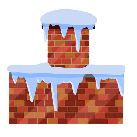 Winter roof. Brick wall with snow and chimney. Element of a house and building. Christmas decoration. Snowfall and cold weather. Flat cartoon