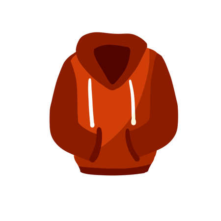 Hoodie with hood. Red Warm clothing. Sweatshirt with handles. Cartoon flat illustration isolated on white background.