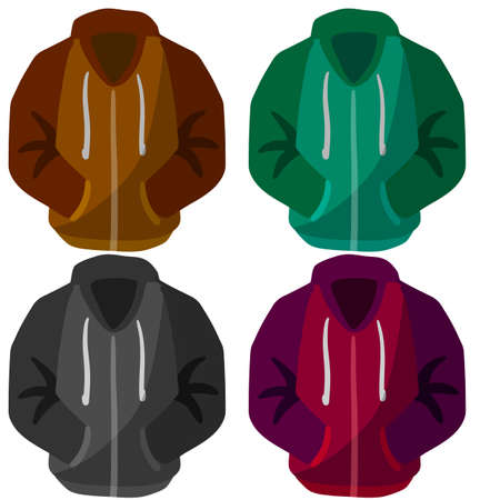 Hoodie with hood. Blue. green and red Warm clothing. Set of Sweatshirt with handles. Cartoon flat illustration isolated on white background