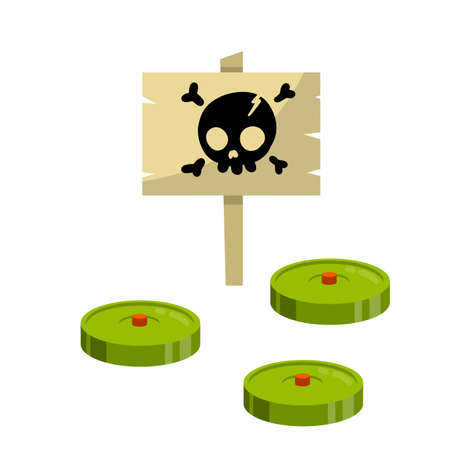 Minefield. Green mines. Danger warning sign with skull. Hostility. Concept of threat and risk. Cartoon flat illustration. Bomb and weapons Illusztráció