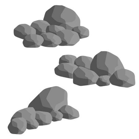 Set of gray granite stones of different shapes. Flat illustration. Minerals, boulder and cobble. Element of nature, mountains, rocks, caves Ilustracja