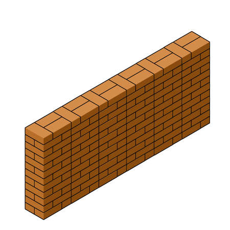 Red brick wall of house. Element of building construction. Stone object. Isometric illustration. Symbol of protection and security Ilustracja