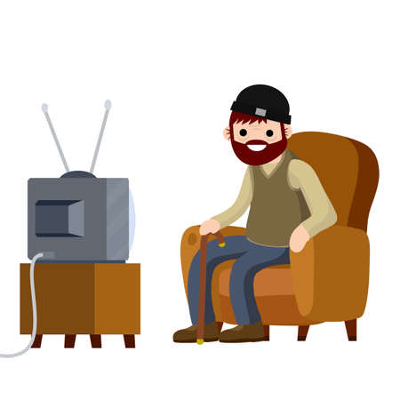 Old Senior man sitting in armchair and watching retro TV. Funny grandfather. Lifestyle of grandpa. Cartoon flat illustration. Hobbies and pastime oldster 向量圖像