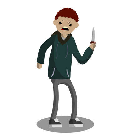 Angry young man with a knife. The Street Crime. A criminal guy offender. A robber is a thief in a hoodie. Urban security problem - Cartoon flat illustration