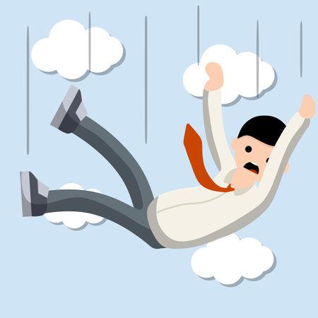 Falling down man in shirt and tie. Office problem. Employee dismissal. Money and crisis. Scared guy. Cartoon flat illustration. Illusztráció