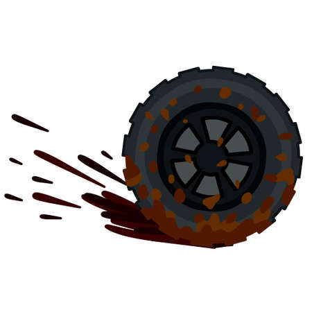 Dirty wheel of the truck. Off-road driving. ground on tire. Garbage and dirt. Cartoon flat illustration. Car wash symbol Vector Illustration
