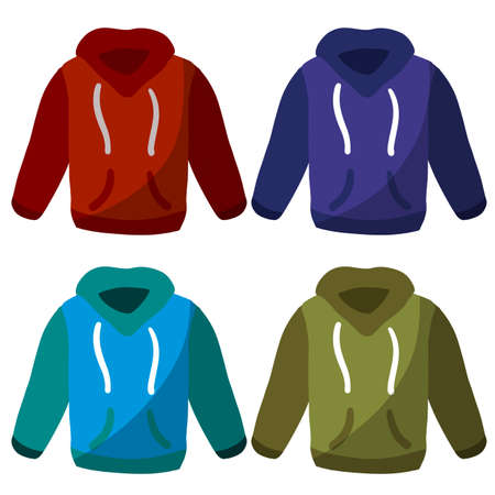 Hoodie with hood. Blue and red Warm clothing. Set of Sweatshirt with handles. 일러스트