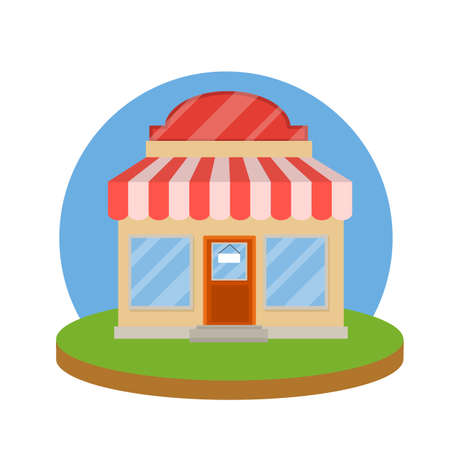 Small shop. Store with red and white roof. Food trade and coffee shop. Facade of the house with showcase. Cartoon flat illustration. Town and city. Element of urban landscape