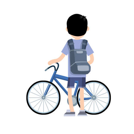 Man riding bike. Bicycle for road with guy with backpack. Summer activity. Hobbies and sports. Healthy lifestyle. Cartoon flat illustration. Summer season, movement and pastime. Urban transport.
