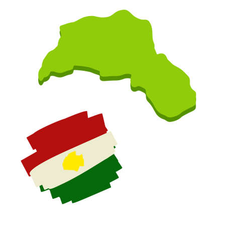 Map Of Kurdistan. The region of the Syrian conflict. Arab country. Unrecognized state. Red white and green flag. National symbol.
