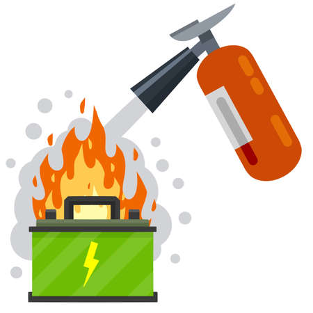 Fire fighting. Rechargeable electric battery. The job of a firefighter. Red fire extinguisher. Danger and problem. Broken equipment in the car