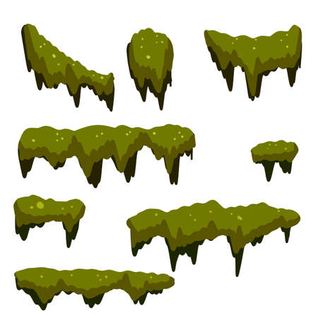 Set of swamp moss of different shapes. Marsh element. bog mud and mold. rotten tree. Cartoon flat illustration. Green plant in the forest and nature