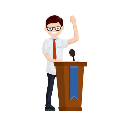 Presidential election. Male politician stands behind the podium. Male speech. Debate and discussion. Lecturer at lecture in suit. Cartoon flat illustration