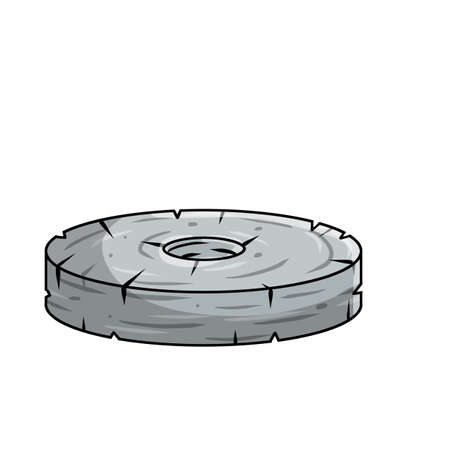 Stone wheel. invention of primitive caveman. Symbol of progress. old heavy object with hole. Cartoon illustration Vettoriali