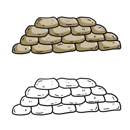 Barricade of sandbags. Fortified point. Defense construction. Modern warfare. Wall of the bag. Outpost and barrier. Flat cartoon