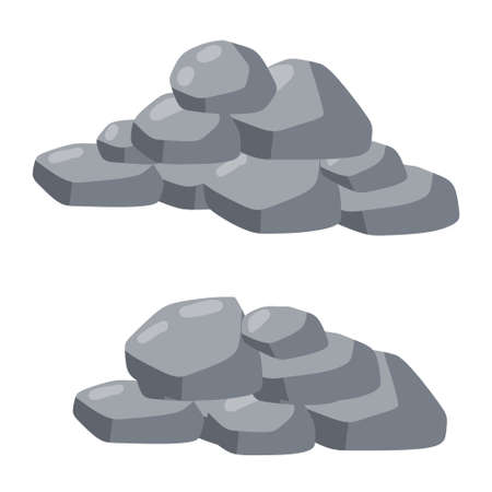 Set of stones. Gray cobblestone. Element of nature and mountains. Items for decoration and background. Flat cartoon
