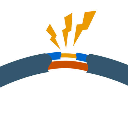 Blue damaged cable with red wire. Orange lightning and the spark. Broken line. faulty electrical appliance. Power Safety rule. Cartoon flat illustration. Electrical shock, short circuit.
