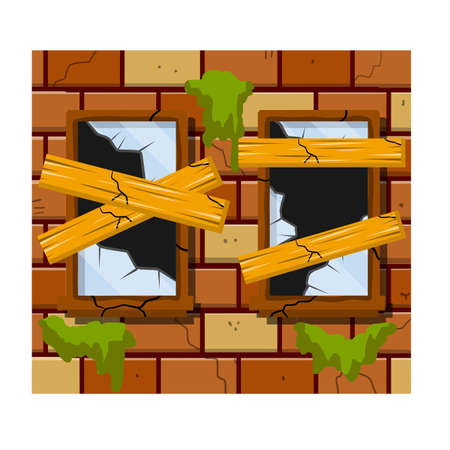 Broken Boarded up glass. Shards and sharp parts in frame. Brick wall and vandalism. Destruction and ruin. Cartoon flat illustration