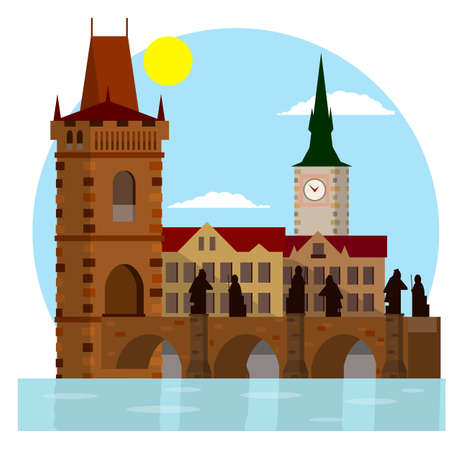King Charles bridge. medieval landmark of Prague with statues. Crossing the river. Element of center of the urban landscape. Czech culture. place for tourism and travel. Cartoon flat illustration