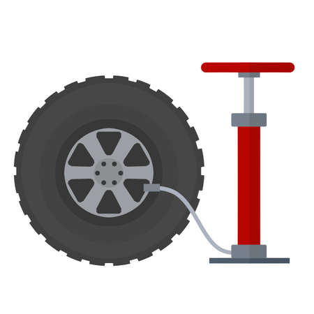 Deflated automobile tire. Accident and repair. Punctured wheel of a car. Red pump to increase air pressure. Tire service station. Cartoon flat illustration