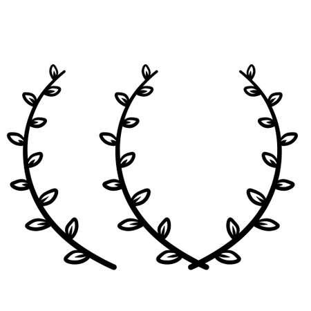 Branch of plant. Natural ornament. Winner laurel wreath. Simple minimalist line icon.