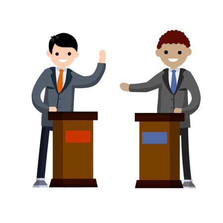 Man and political debate. guys in shirt. state elections. red vs blue idea - Cartoon flat illustration. Discussion of important cases. Two guys in tribune discussion.