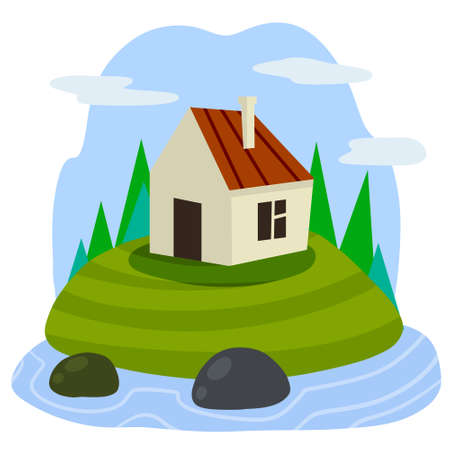 Village house. Rural white building with red roof. Home on green hill and road. Country landscape with river and lake. Flat cartoon illsutration