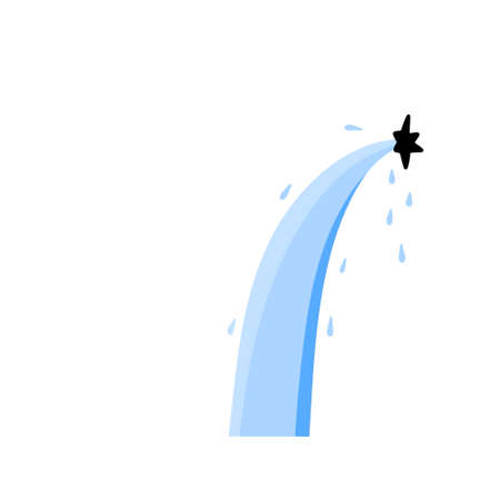 Leakage of water. Hole and damage. Flooding and the flow of blue liquid. Stream, drop with splashes and hole. Flat illustration