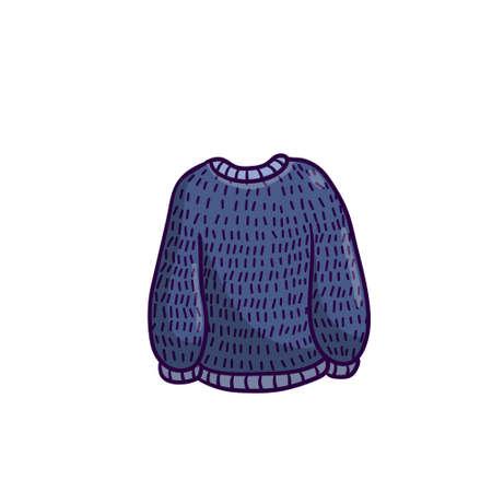 Sweater. Warm woolen pullover. Winter clothing. Blue Outline cartoon illustration