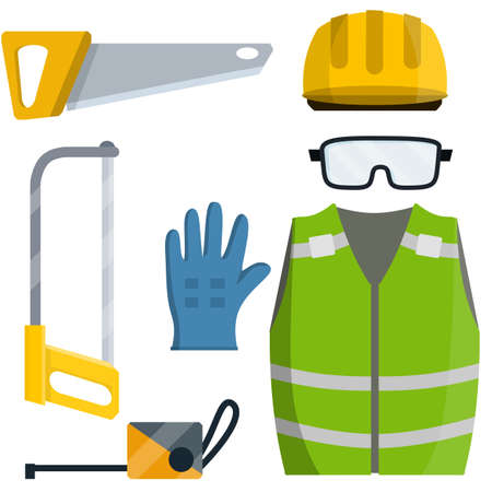 Set of clothes Builder and worker. Safety and tools for cutting trees. Cartoon flat illustration. Repair and maintenance. Yellow vest, helmet, glasses, gloves. jigsaw and saw of lumberjack
