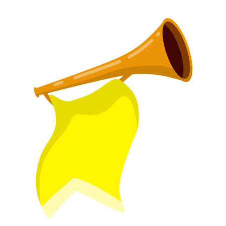 Musical instrument. Trumpet. Golden horn with flag. Solemn event. Element of celebration and awards. Sound and melody. Flat cartoon illustration