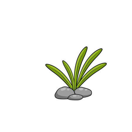 Grass and stone. Element of the landscape. Natural scenery with leaves and cobblestones. Cartoon illustration