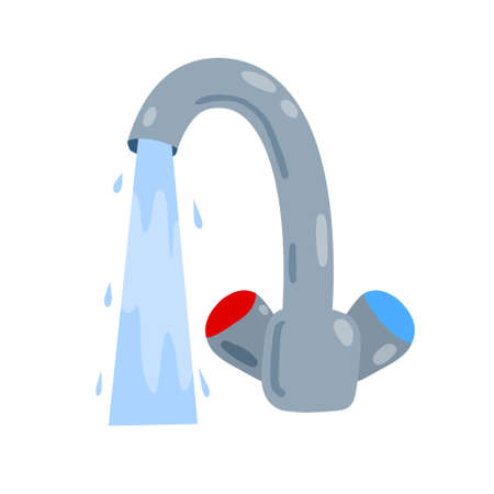 Tap with running water jet. Plumbing in kitchen and bathroom. Flow and stream of blue liquid. Flat cartoon isolated on white background Vector Illustration