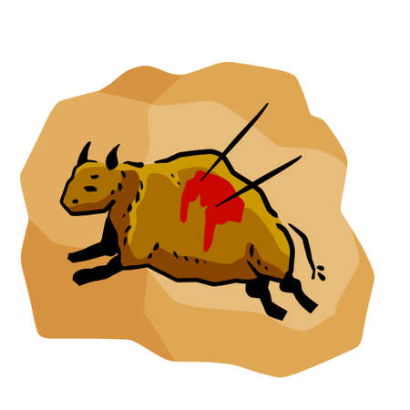 Rock art. Scene of bull hunt. Primitive life. Drawing in a cave. Animal wounded by spear or arrow. Sketch cartoon illustration
