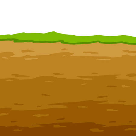 Land in the section. Geological layer. Archaeological scenery. Brown ground. Dirt clay and green grass. Vector cartoon. Underground background Vecteurs