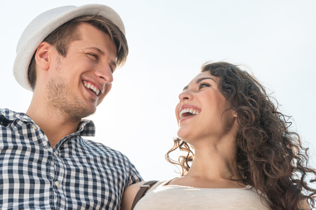 infatuation: young couple spending time together midday outdoors