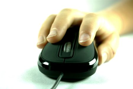 Black optical computer mouse with hand Stock Photo