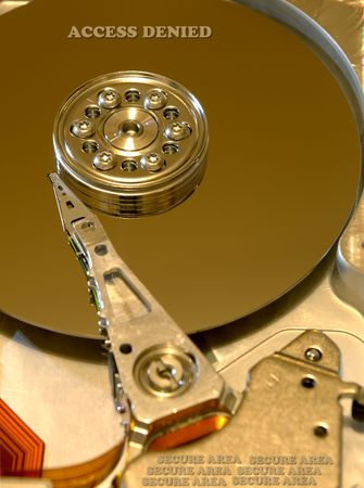 Internals of hard disk with security alert