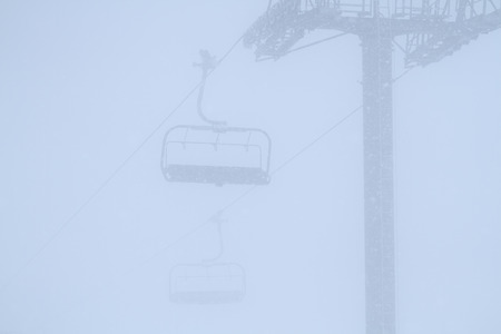 Cabin on ropeway high in mountains