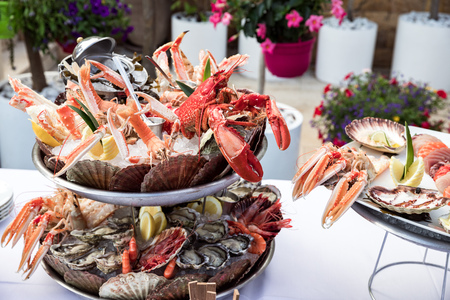 Seafood dish served on the restaurant table