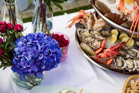 Seafood dish served on restaurant table Zdjęcie Seryjne