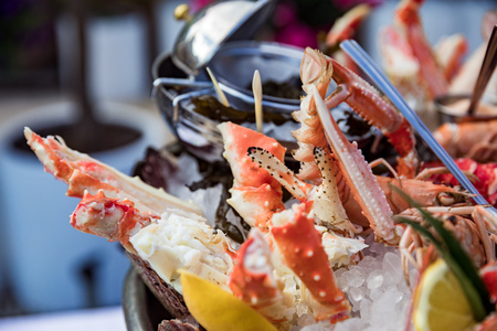 Seafood dish on restaurant table