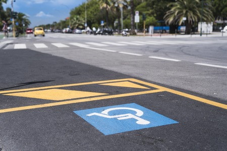 Marking in the car parking for the disabled Archivio Fotografico - 108174538