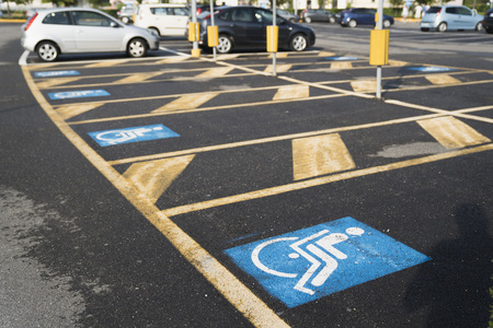 Marking in the car parking for the disabled