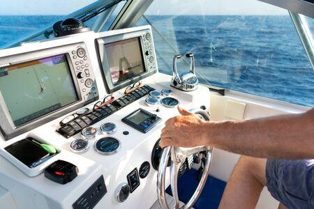 Inside the cockpit of yacht Zdjęcie Seryjne