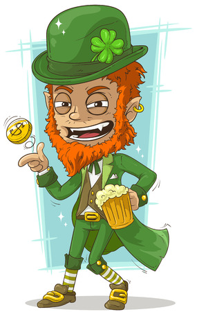 fable: Cartoon leprechaun with gold coin and beer Illustration