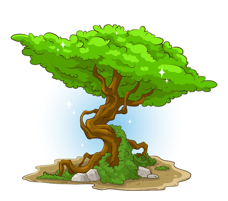 A vector illustration of big green tree with moss and stone
